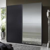 Quality Elegant High Gloss Bedroom Furniture With Half Mirror Soft Sliding Door Wardrobe for sale