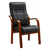 Quality Padded Office Conference Chairs , Luxury Leather Office Chair With Wood Arms for sale