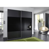 Quality Black Glass Sliding Wardrobe Lacquer High Gloss Painting Wooden Bedroom Furniture 2.3 Meters Height for sale