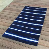 Quality Soft Promotional Mens Beach Towel / Striped Beach Towels Blue And White for sale