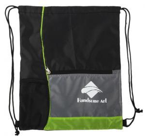 Mens Polyester Drawstring Bag , Sports Drawstring Backpack With Water Bottle Holder