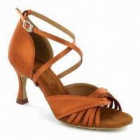 Quality Dance/Latin Shoes, Made of Leather Suede Sole, Satin and Decrorated with Stone for sale