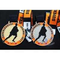 Quality 10k Custom Sports Medals With Soft Enamel Sublimated Ribbon For Canada Hockey Baseball Racking for sale