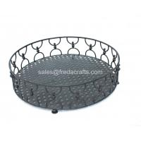 "Quality Metal fruit tray in black finish metal framed 14 1/5""x14 1/5"" for sale"