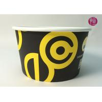 Quality 185mm Round Printed Paper Salad Bowls Take Away With PET Lid for sale