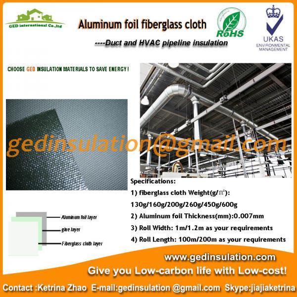 Buy Aluminium Foil coated fiberglass cloth thermal insulation fabric at wholesale prices