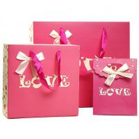 Pink Cutom Color Printing Paper Gift Bags , Recycled Paper Shopping Bags