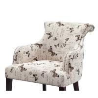 Quality Rosy Rollback Upholstered Accent Chairs Plywood Frame With Birch Wood Legs for sale
