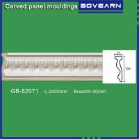 Quality Polyurethane Carved Panel Mouldings/ Chair rails/ 106mm white primed color customized OEM accepted for sale