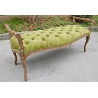 New American Style Oak Bench / Wood Ottoman / Ottoman Bench Fabric Button Seat Chairs