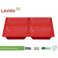 Quality Red Color Melamine Compartment Food Tray 21.5 x 2.4cm Tasteless Endurable FDA Pass for sale