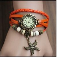 Quality Vintage Ladies Bracelet Wrist Watches , Starfish Pendant Leather Strap Watch for sale