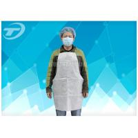 Quality Disposable White Plastic Aprons PE Coated SPP Fabirc 70 X 120cm for sale