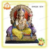Quality Polyresin Hindu God Statues-sitting Ganesh Murti for sale