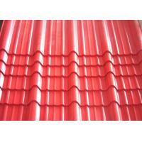 China Galvanised Corrugated Roofing Sheets , Red Pre Painted Corrugated Steel Sheet on sale