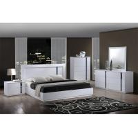 Quality King Size High Gloss Bedroom Furniture Set Lacquer Painting With White / Blue Color for sale