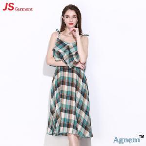 China 89D17256 2018 New Printed Cotton Sleeveless High Waist Women Midi Dress on sale