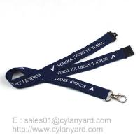 Quality Blue Breakaway Clip Lanyards, Printed Polyester Lanyard with Breakaway Buckle for sale