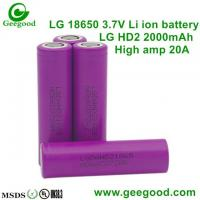 Quality Geniune LG HD2 HD2C 2000mAh 25A high capacity 18650 3.7V li-ion battery for e-cig/Vape for sale