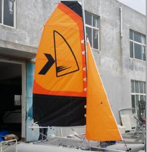 Easy Take Inflatable Sailing Boat Orange Sailing Cat With Fiberglass Rudder