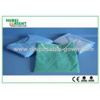Quality Light Blue Breathable Disposable Isolation Gowns with Knitted Wrist for sale