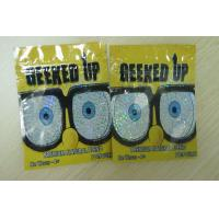 Quality Ziplock Herbal Incense Packaging 4g Laser Film Plastic GEEKED UP Yellow for sale