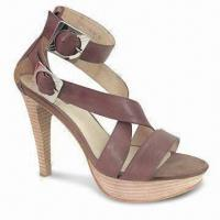 Quality Women's Stiletto Heels with Genuine Leather Upper, Available in Camel Color for sale