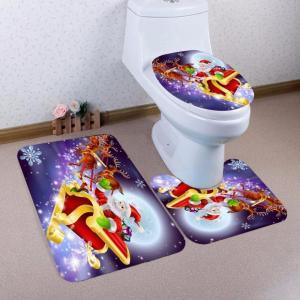 Quality Christmas Festival Decoration Memory Foam Bath Mat 3 Pieces Set Universal Size Coral Fleece Print for sale