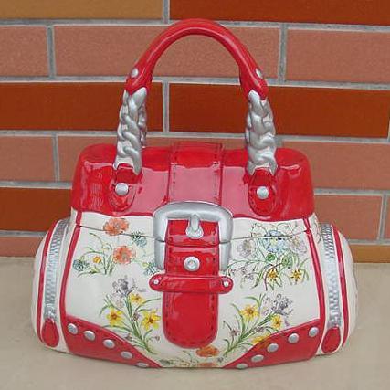 Unique Fashionable Red Bag Designer Ceramic Cookie Jars