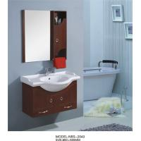 Quality 85 X 50 / cm round type wooden bathroom mirror cabinet light brown Color for sale