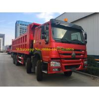 Quality Red Color HOWO 371/420 hp 8x4 12 wheeler Heavy Duty Mining Dump/ Dumper/Tipper Truck For Transporting sand stone ore for sale