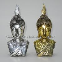 Golden electroplated buddha head statue