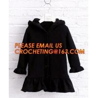 China Superior quality kid sweater cute hooded girls thick dress coat, Commercial 100% cotton knitted kids long girls pullover on sale