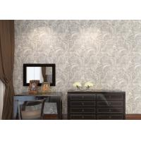 Quality Ivory White Embossed Floral Pattern Wallpaper / Wall Coverings For Shop Walls for sale