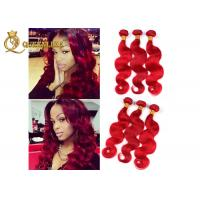China Highlighted Red 16 Inch Peruvian Human Hair Extensions For Beauty Works on sale