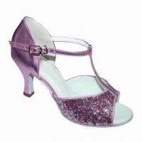 Buy cheap Latin Dance Shoes, Made of Leather Suede Sole, Satin and Decorated with Stones from wholesalers