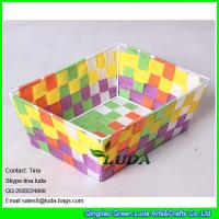 Quality LDKZ-006 colorful woven strap tote rectangular storage basket bins,handmade storage container for sale