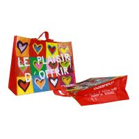 Quality Coloful PP Woven Shopping Bags Heart Pattern 120gsm Shining Coated Cylinder Printing for sale