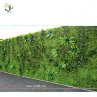 Buy UVG green leaf artificial grass wall with high imitation plants for outdoor decoration GRW01 at wholesale prices