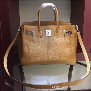 China hot sale high quality camel 25cm 30cm Lychee cowhide leather handbags women gorgeous brand handbags LR-B08 on sale