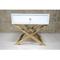 Quality White Painted Gold Hotel Bedside Tables With Polished Metal Base , 60% Sheen for sale