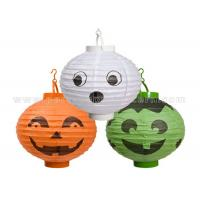 Quality Patterned Printed Round Paper Lanterns For Party , Halloween Decoration Customized Traditional for sale