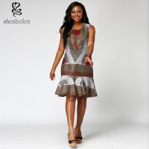Dashiki style  African Print  Dress midi length Square collar  100% wax cotton