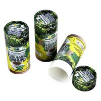 Biodegradable Green and Yellow Cylindrical Kraft Paper Can Packaging for Tea Food and Powder