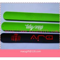 Quality logo printed silicone slap band bracelet for sale