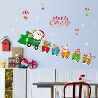 Quality Indoor Decoration Christmas Wall Stickers PVC 3D Santa Claus Drive Train Pattern for sale