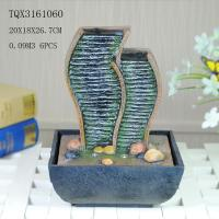 Quality Green Polyresin Water Fountain Tabletop Waterfall Fountain With Natural Pebble for sale