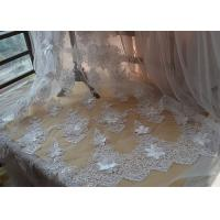Ivory Embroidery Corded Sequin 3D Floral Lace Fabric For Bridal Wedding Dress