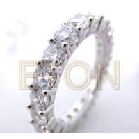 China White CZ Rhodium Plating 925 Silver Eternity Rings on sale