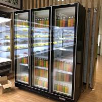 Quality 1200L Commercial Display Freezer Five Layer Black Swing Glass Door Refrigerator 0 To 10 Degree for sale
